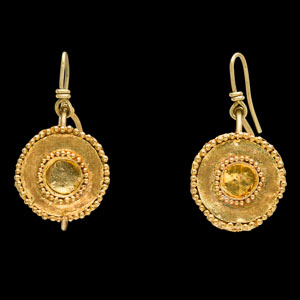 Hellenistic Bactrian gold earrings, mounted on removable modern gold earwires for wear