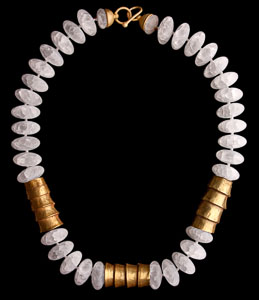 White Matte Oval Rock Crystal Beads with 3 Pre-columbian Chavin Gold pieces