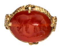 Islamic Intaglio Ring with Boar