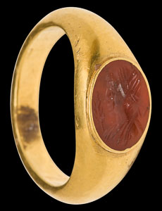 Early Imperial Roman ring with cornelian intaglio bust of Demeter in left profile