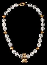 Crystal Necklace with Pre-columbian Tumbaga Frog Pendant
