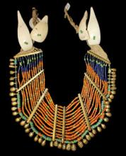 Authentic, Vintage Konyak Wakching Village Tubular Brown Ancient Deomani Glass Bead Collar Necklace Brass Bar