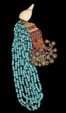 Authentic Konyak Naga Chief's Blue Padre Bead Necklace with Shells and Bells