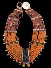 Authentic Vintage Konyak Dark Orange Large Collar Necklace with Brass Bells and Spiral Elements