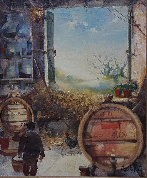 JORGE AGUILAR-AGON (1936). 'Wine Barrels', signed