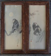 Mori SOSEN (1747-1821) attrib, 2x Aquarelle mit Affen