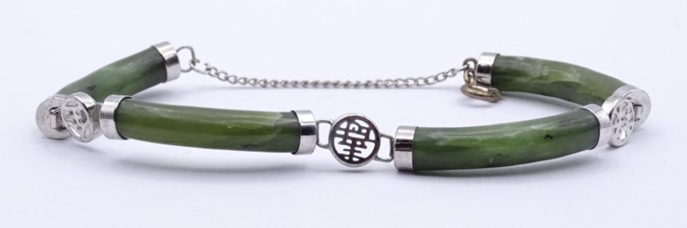 Jade Armband mit versilberten Montur,L- 20cm