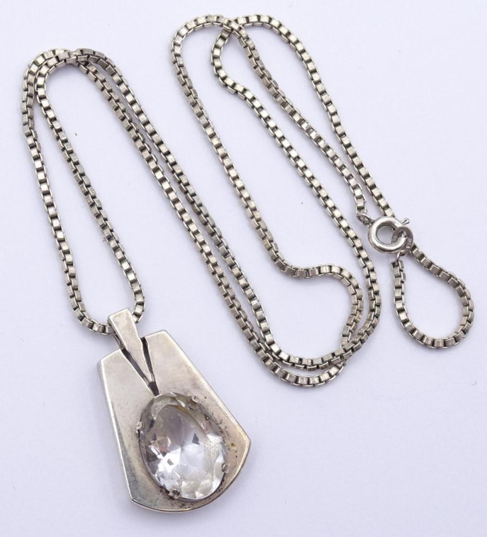 Halskette + Anhänger,Silber 0.835, Anhänger mit einen oval facc.klaren Stein
