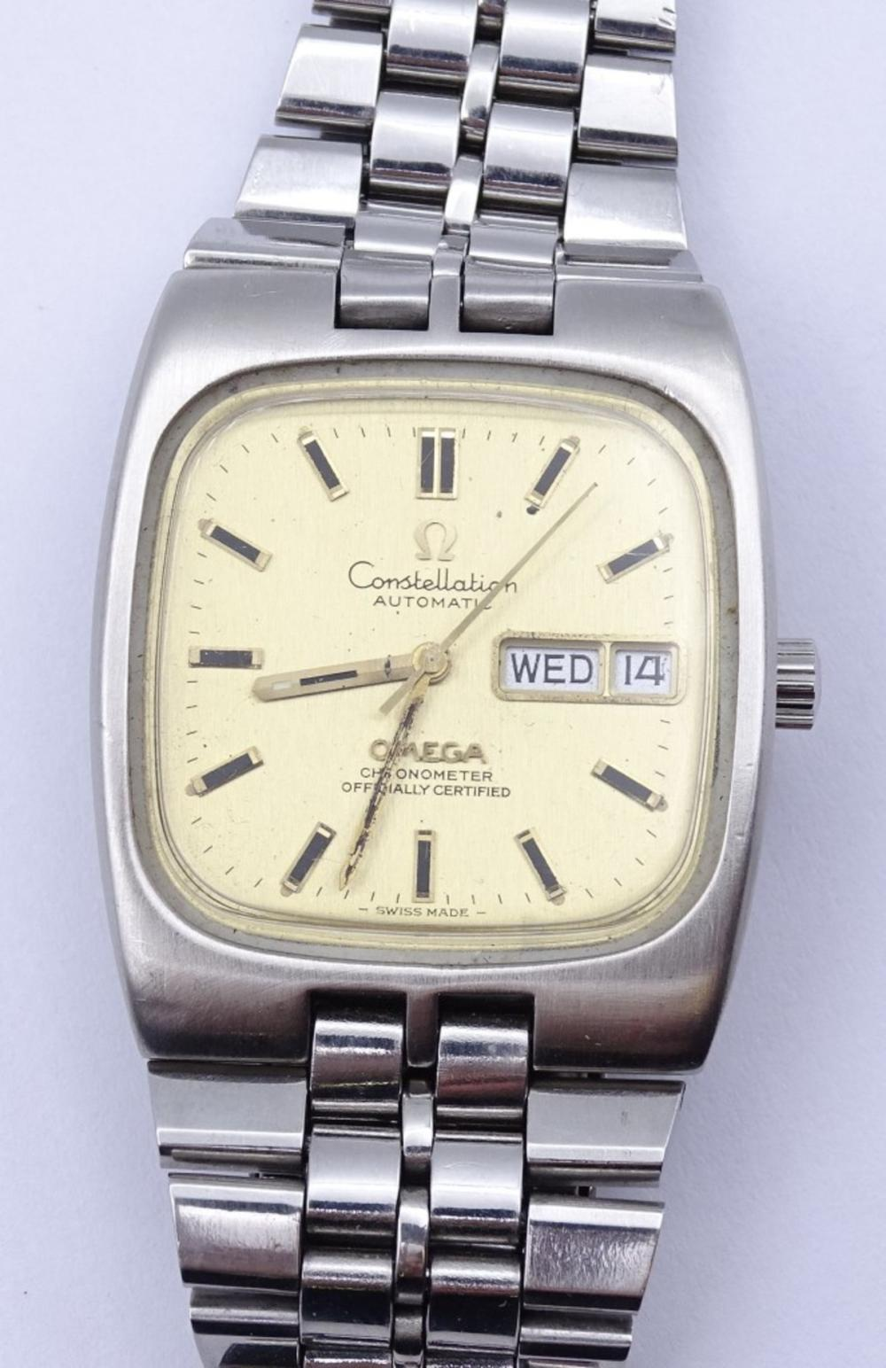 """Herren Armbanduhr """"Omega"""" Mod.Constellation,Chronometer,Stahl"""