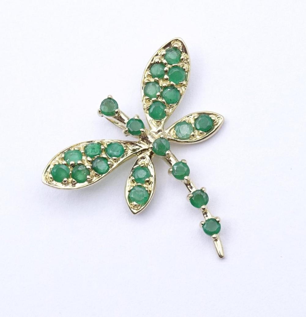 Goldanhänger in Form einer Libelle,GG 0.375 mit rund facc.Smaragden