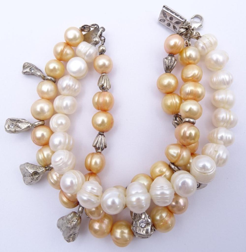 2-farbiges Perlenarmband mit 925er-Silberverschluss und -zwischenelementen