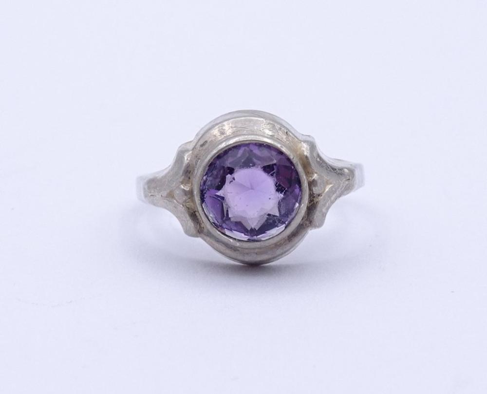 Art Deco Silber Ring mit rund facc. Amethyst,Silber 0.835
