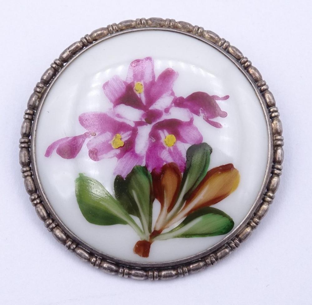 """Runde Porzellan Brosche """"Rosenthal"""" in Silberfassung 0.835 D- 4,2cm"""
