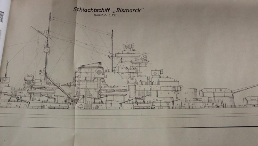 Kopie der Bauzeichnung des Schlachtschiffes Bismarck