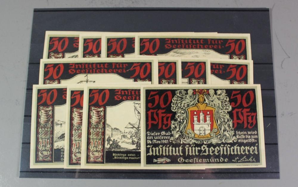 Notgeld, Geestemünde, Institut für Seefischerei, 12 Scheine, kompl. Satz