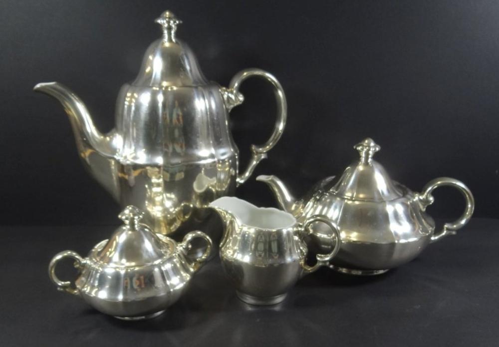 """4 tg. Kaffee-Teeset """"WMF"""" versilbert, um 1930"""
