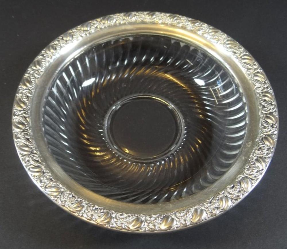 Kristall-Schale m it Silberrand-925-