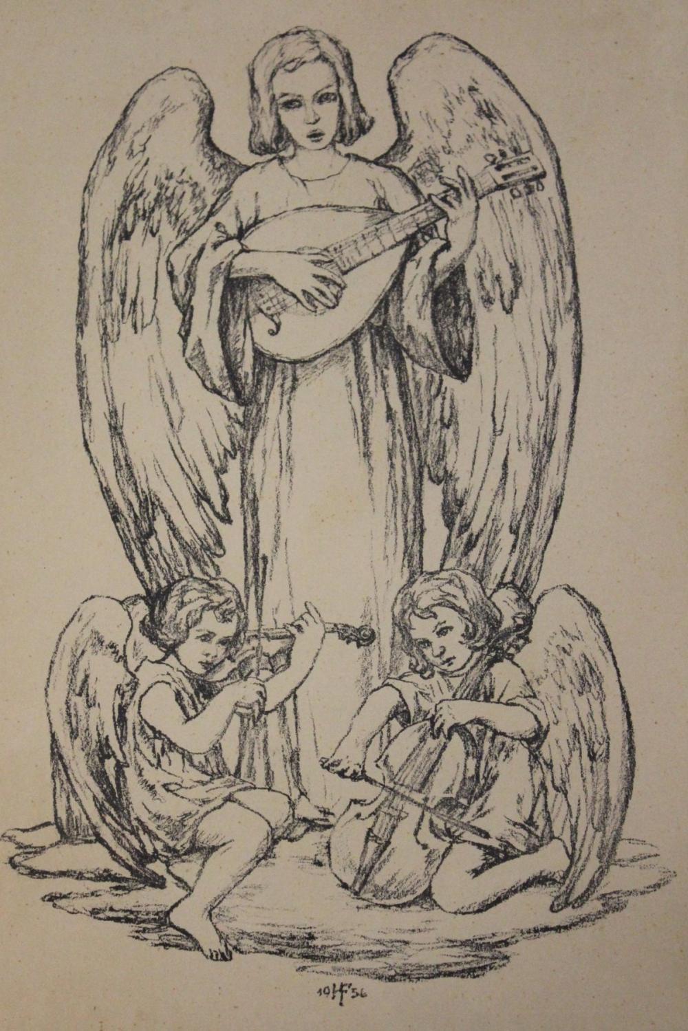Hans FRANKE (1892-1975), musizierende Engel, Litho