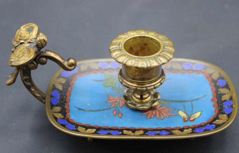 Handleuchter, Cloissoné, Bronze, figürl. Daumenraster Libelle