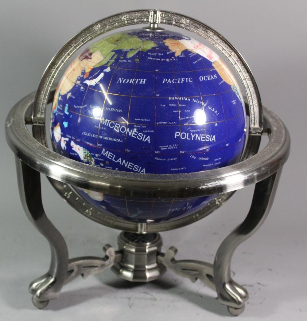 Globus in Metallgestell, teilw. Halbedelsteineinlagen