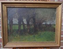 """Thomas Ludwig HERBST (1848-1915) """"Bäume"""" Öl/Leinen"""