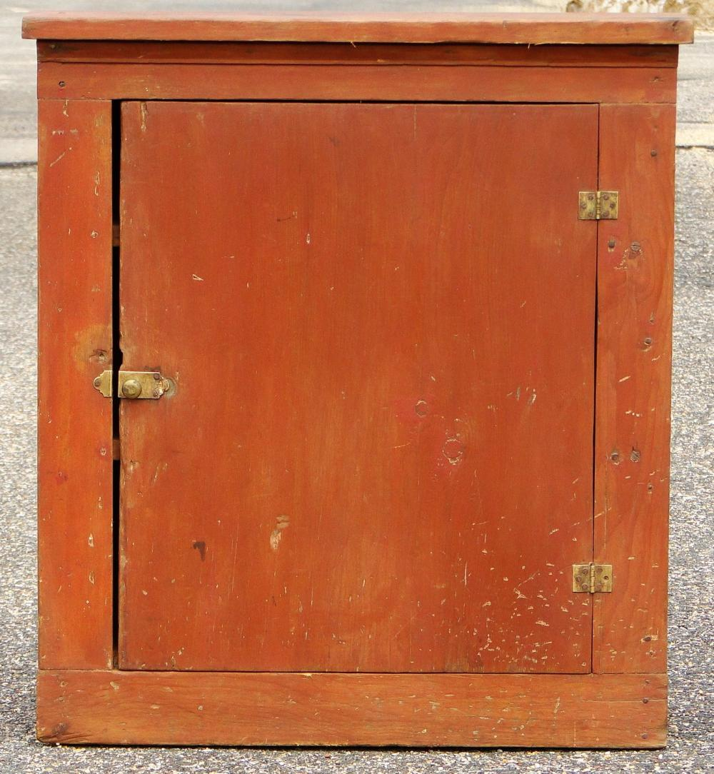 EARLY RED PAINTED WALL CUPBOARD
