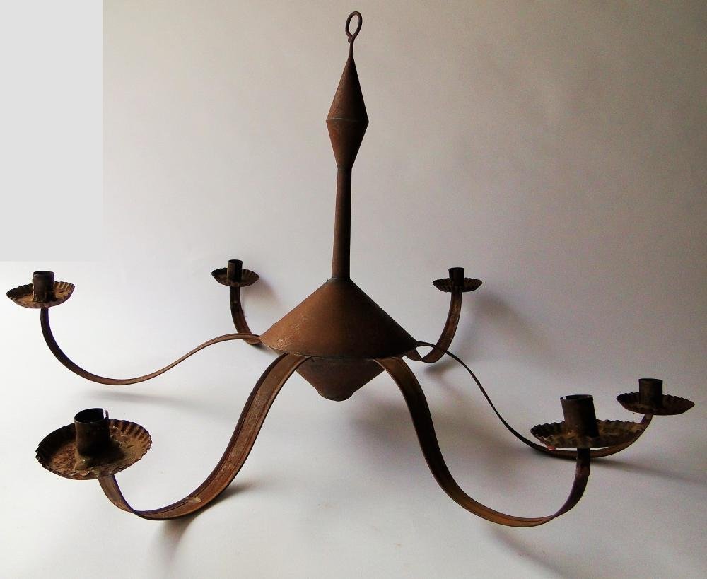 EARLY SIX ARM TIN CANDLE CHANDELIER