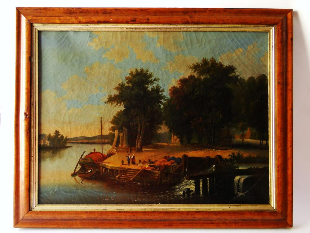 19TH C FOLKY HARBOR VIEW PAINTING O/C