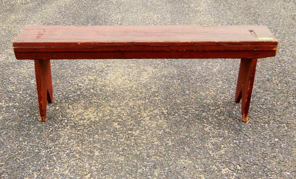 EARLY 19TH C RED BUCKET BENCH