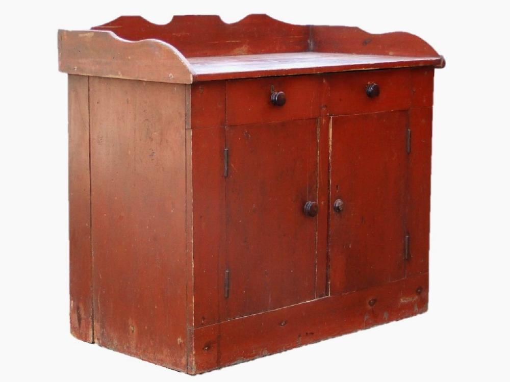 19TH C RED PAINTED SERVER / CUPBOARD