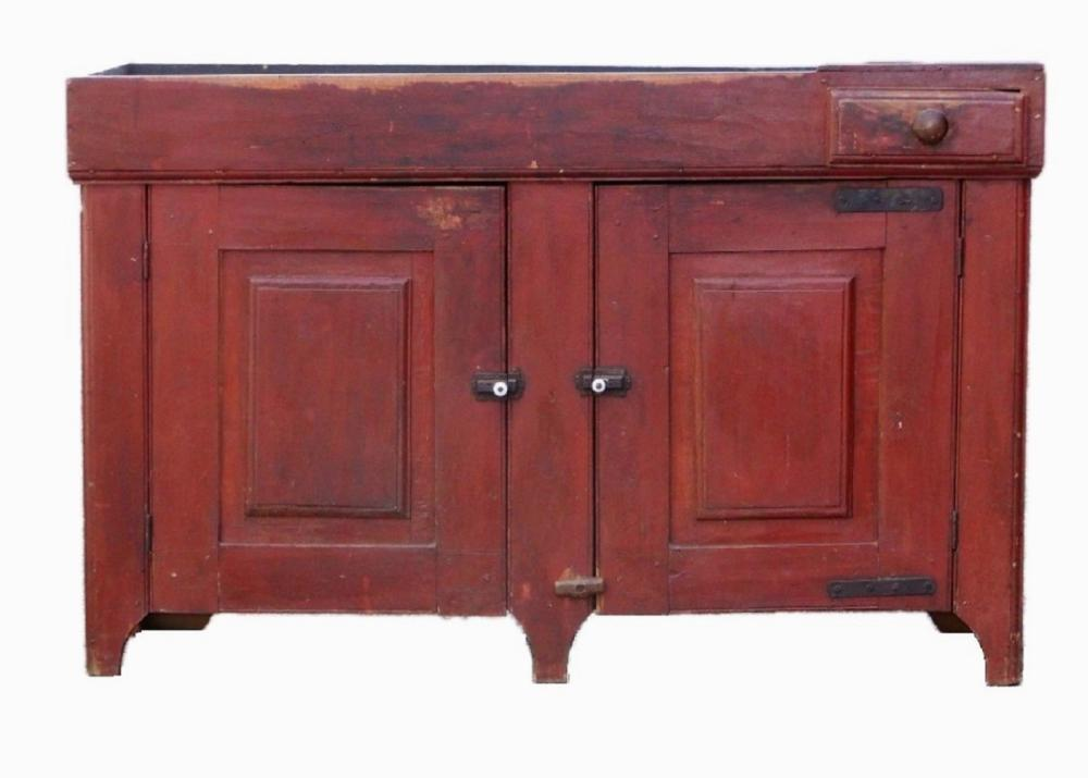19TH C RED PAINTED DRY SINK