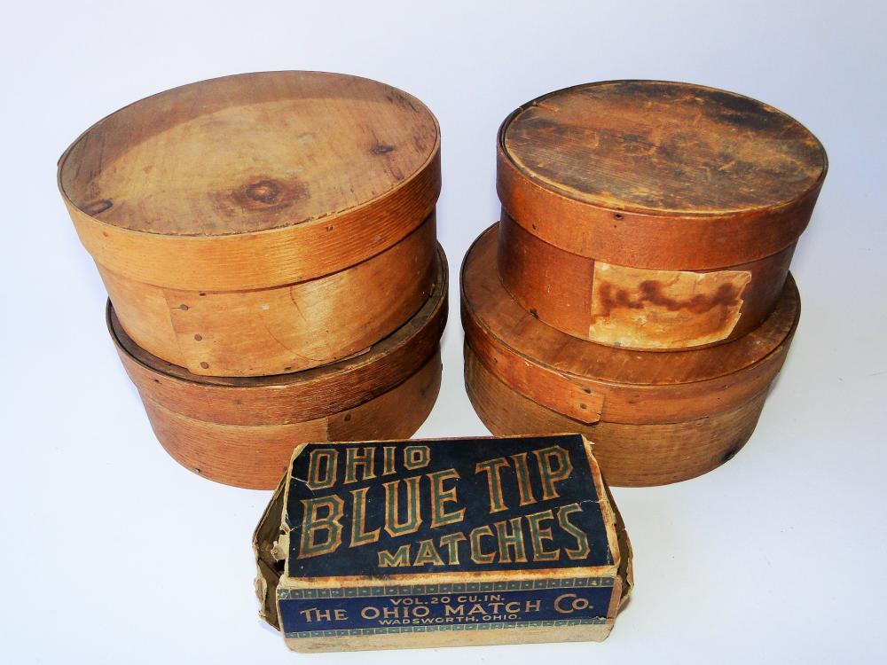 FOUR UNPAINTED SPICE BOXES, MATCH BOX
