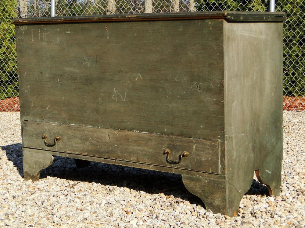 18TH C ONE DRAWER  BLUE BLANKET CHEST