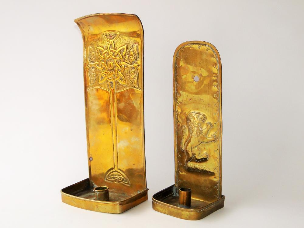 TWO 19TH C BRASS CANDLE SCONCES