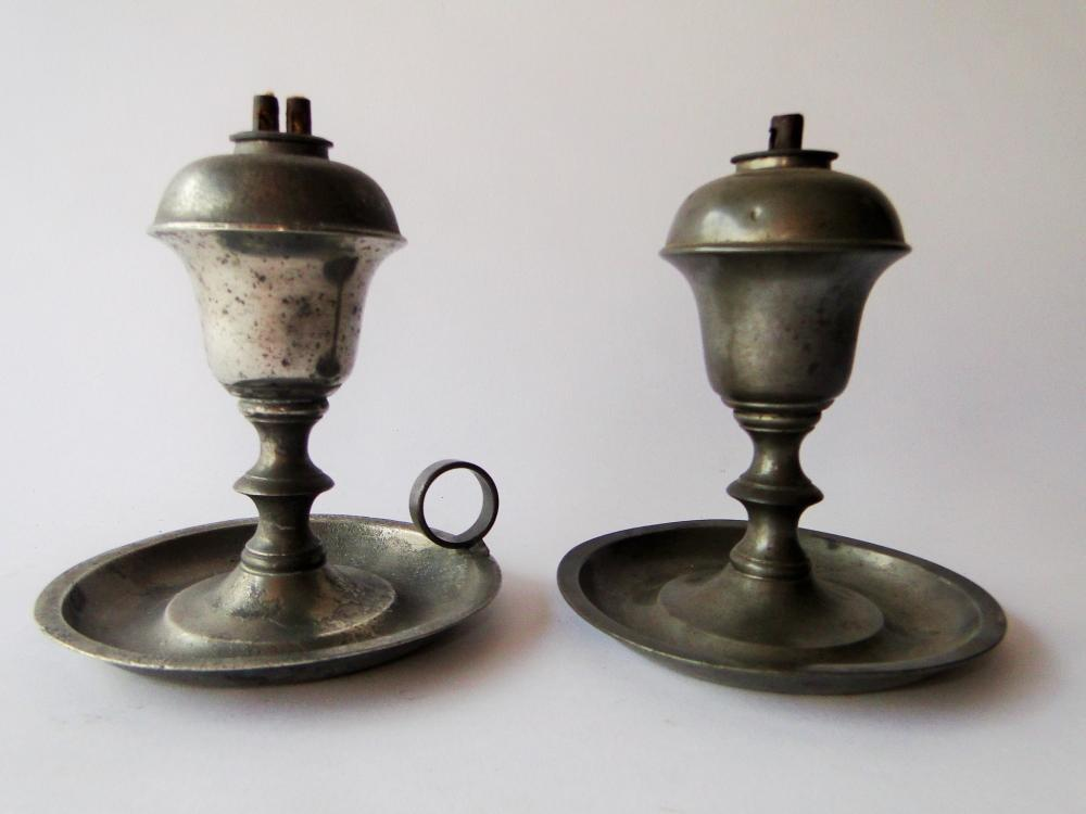 TWO 19TH C PEWTER WHALE OIL LAMPS