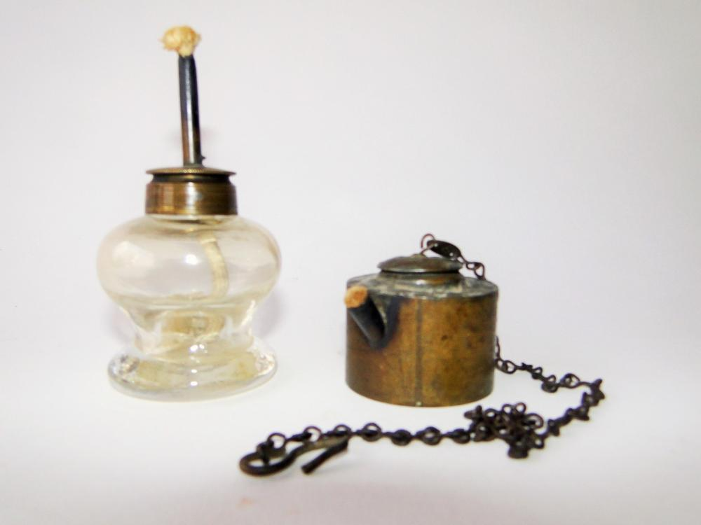 TWO DIMINUTIVE WHALE OIL LAMPS