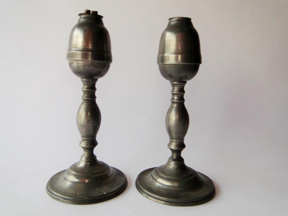 PAIR 19TH C PEWTER WHALE OIL LAMPS