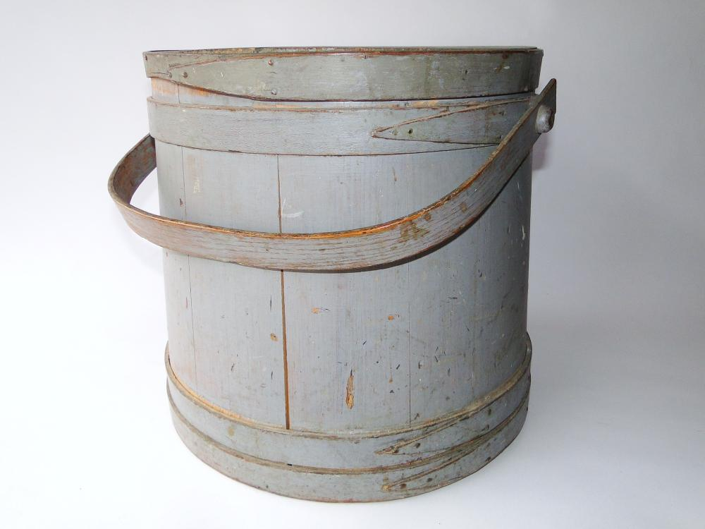 LARGE 19TH C PAINTED FIRKIN