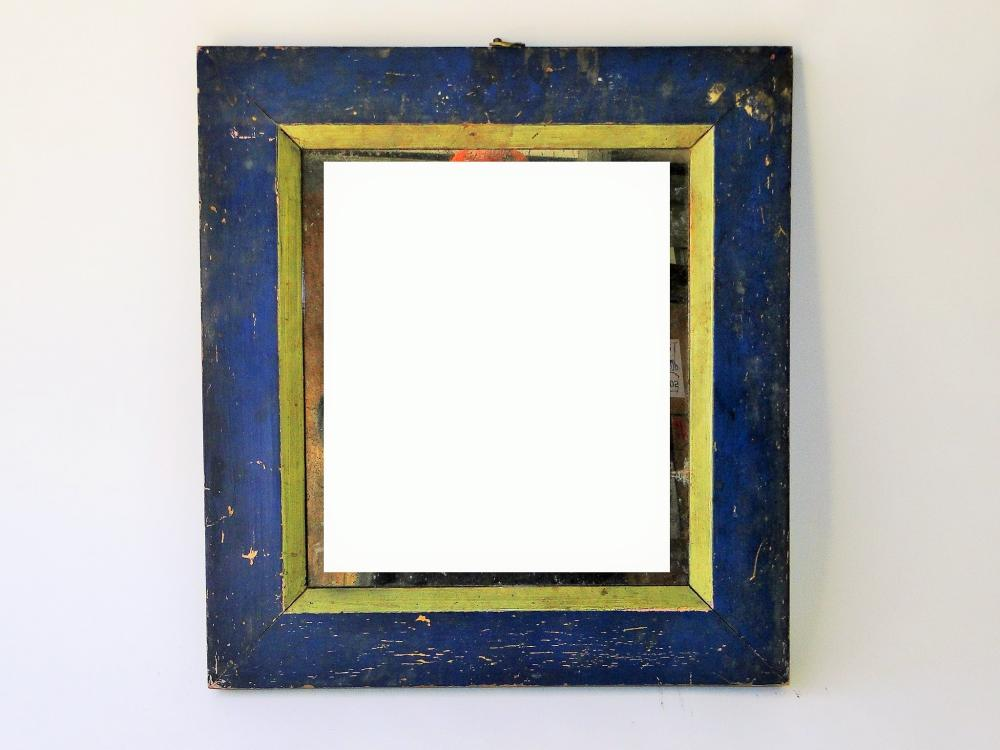 19TH C BLUE PAINTED MIRROR