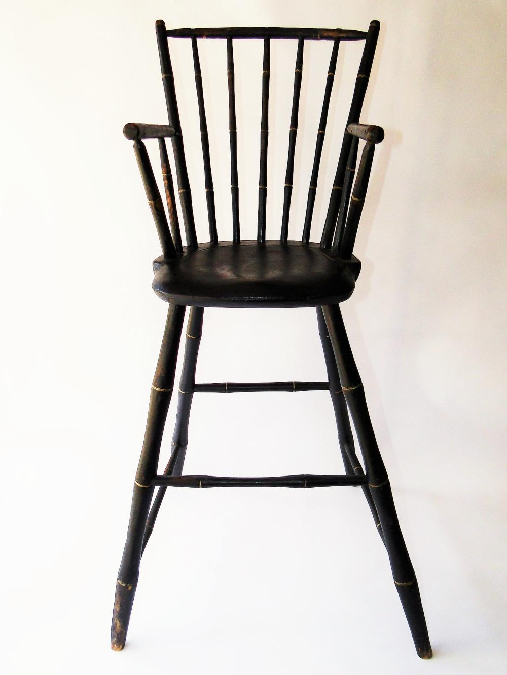 C. 1780-1800 CHILDS WINDSOR HIGH CHAIR