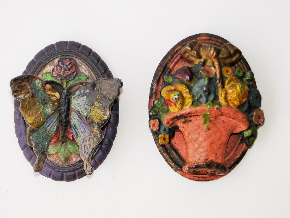 LOT TWO SMALL PAINTED DOORKNOCKERS