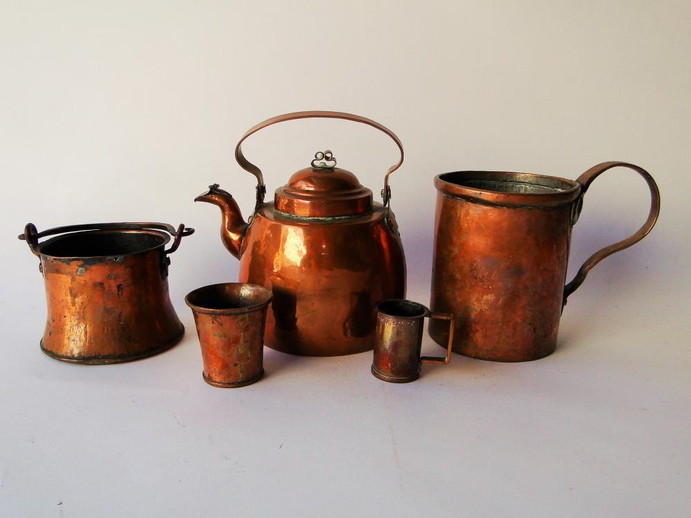 LOT OF FIVE EARLY COPPER ITEMS