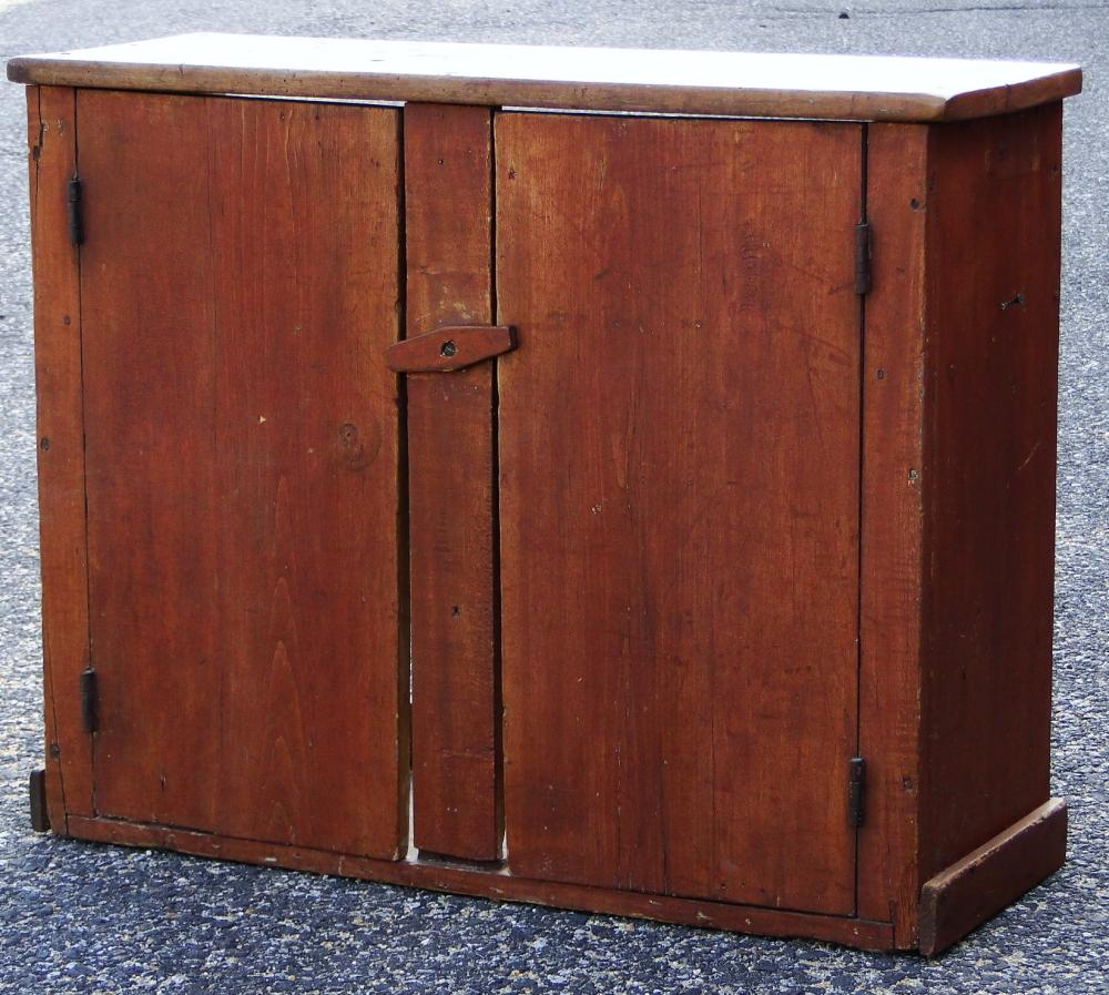 19TH C RED PAINTED WALL CUPBOARD