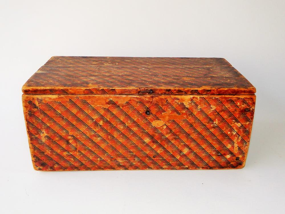 19TH C WALLPAPER DOCUMENT BOX