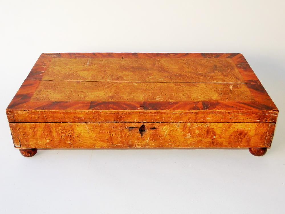 19TH C PAINT DECORATED TABLE TOP BOX