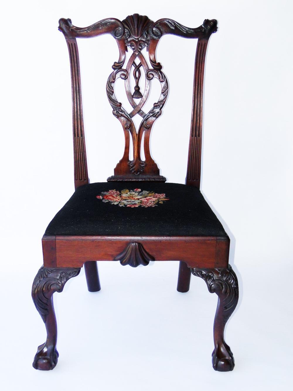 C. 1760-1770 PHILADELPHIA  CARVED SIDE CHAIR