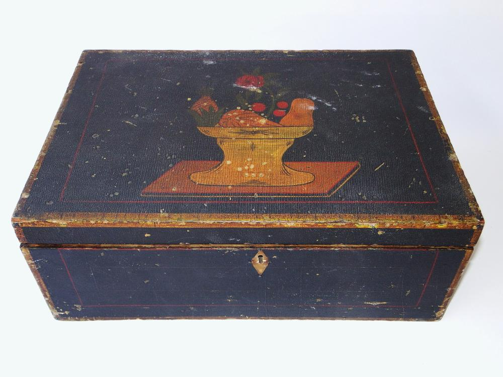 18TH C DECORATED DOCUMENT BOX