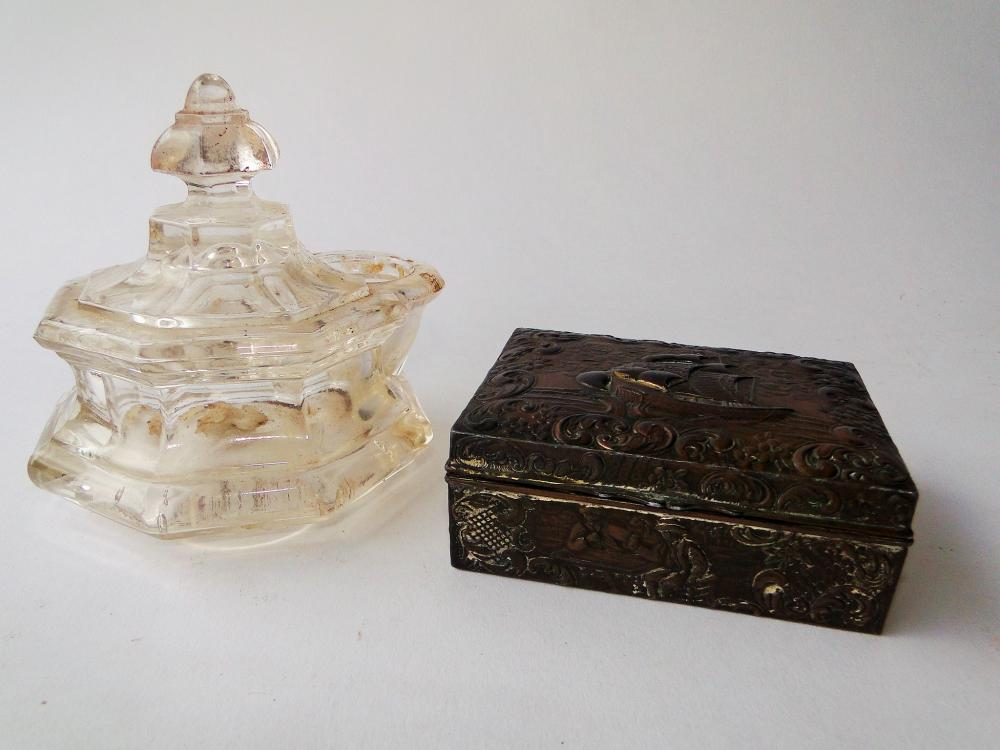 PRESSED GLASS INKWELL, SILVER BOX