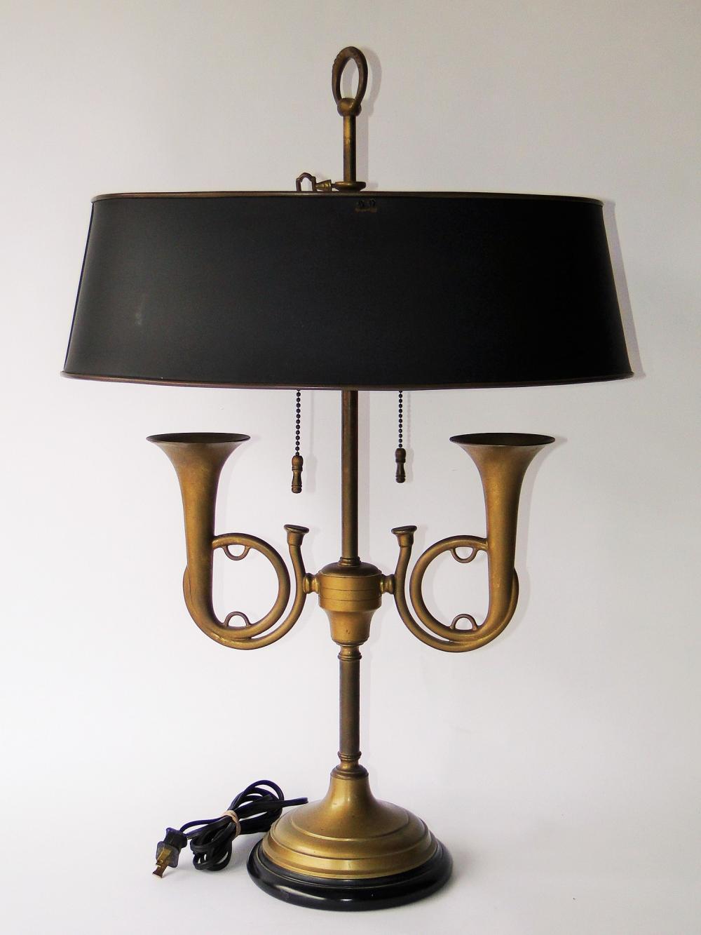 VINTAGE TOLE BOUILLOTTE BUGLE LAMP