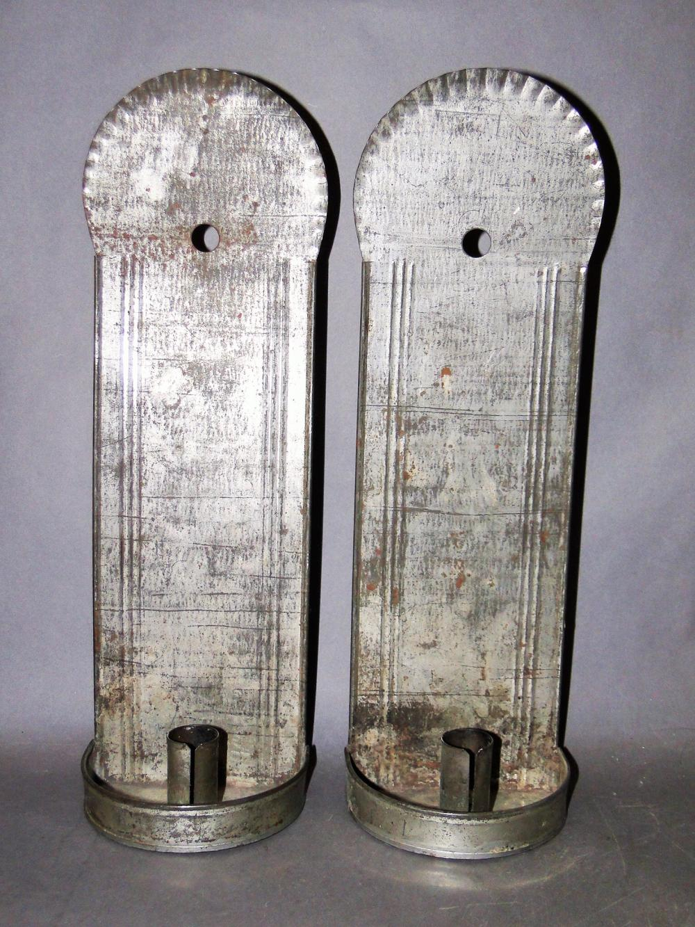 PAIR 19TH C TIN CANDLE SCONCES